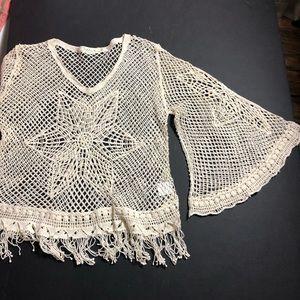 Crochet fringe bell sleeve Top
